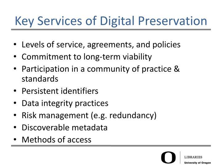 Key Services of Digital Preservation