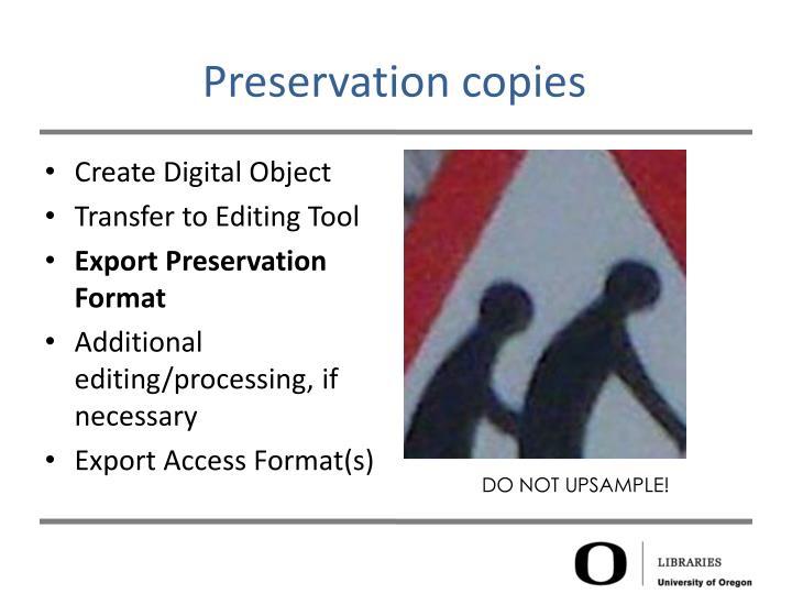 Preservation copies