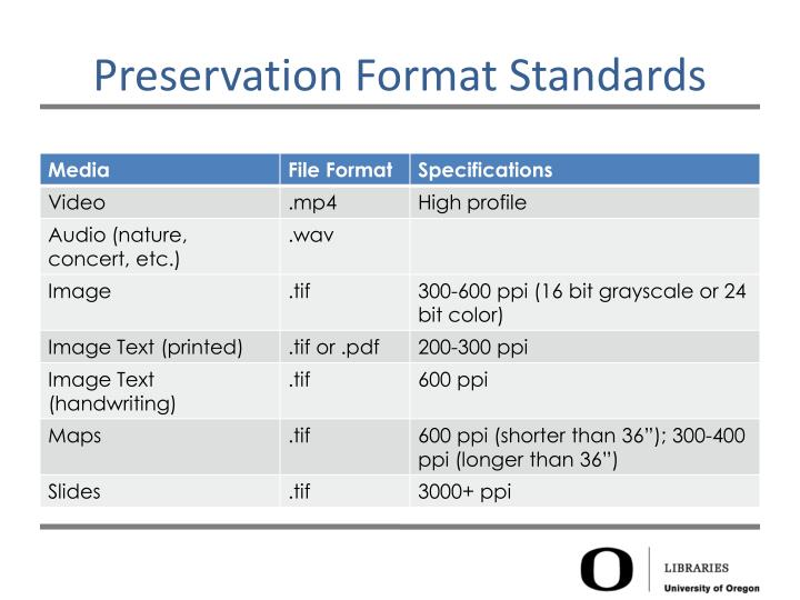 Preservation Format Standards