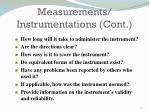 measurements instrumentations cont