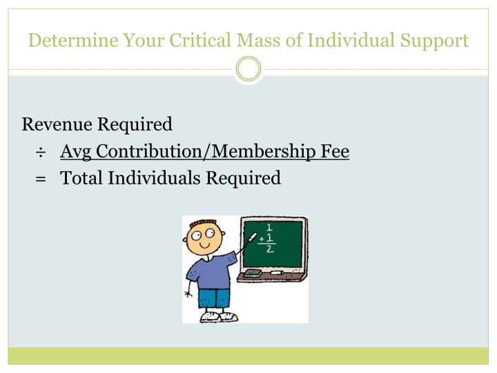 Determine Your Critical Mass of Individual Support