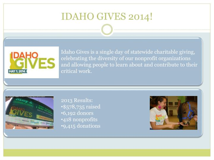 Idaho Gives is a single day of statewide charitable giving, celebrating the diversity of our nonprofit organizations and allowing people to learn about and contribute to their critical work.