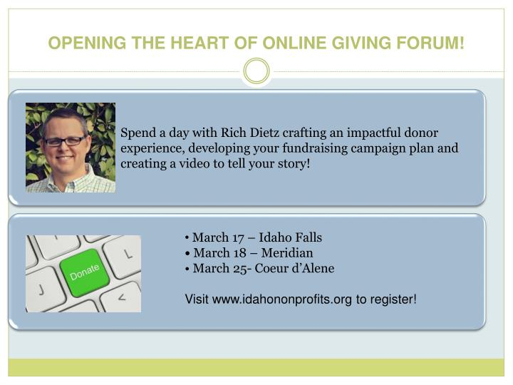 Spend a day with Rich Dietz crafting an impactful donor experience, developing your fundraising campaign plan and creating a video to tell your story!