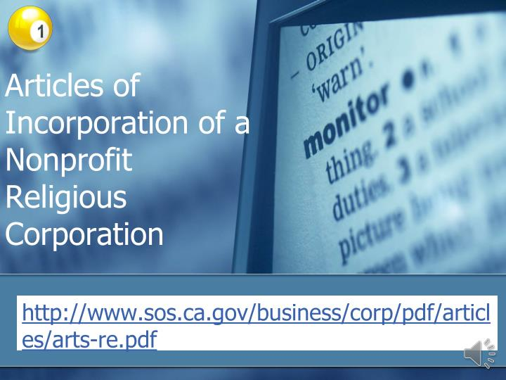 Articles of Incorporation of a