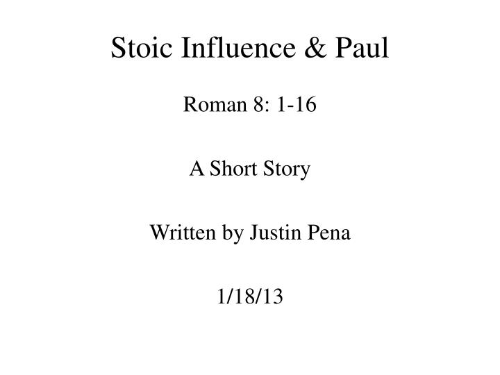Stoic Influence & Paul