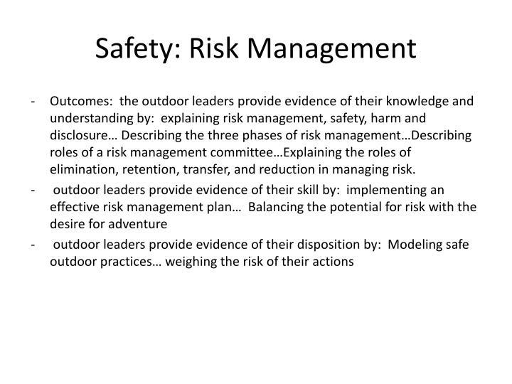 Safety: Risk Management