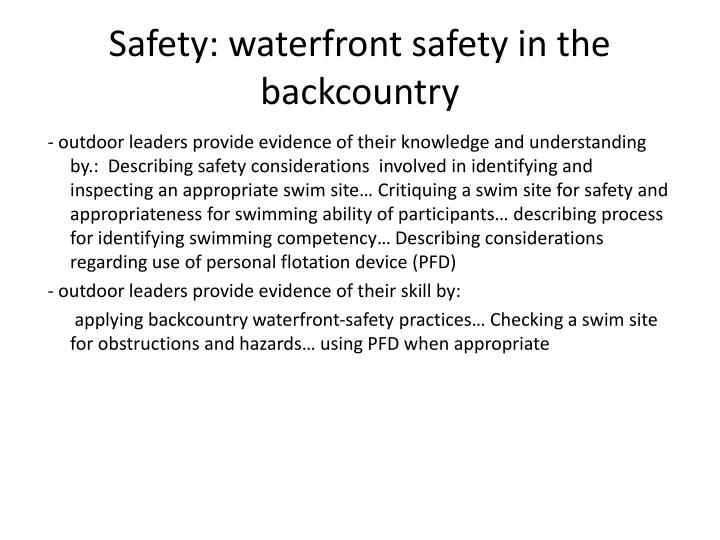 Safety: waterfront safety in the backcountry