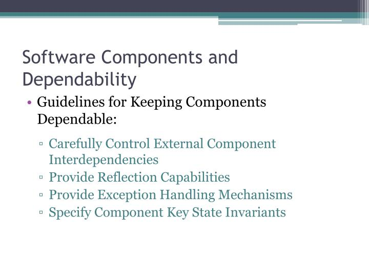 Software Components and Dependability