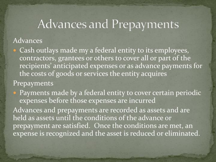 Advances and Prepayments