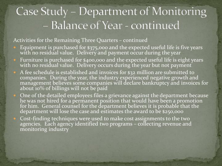 Case Study – Department of Monitoring – Balance of
