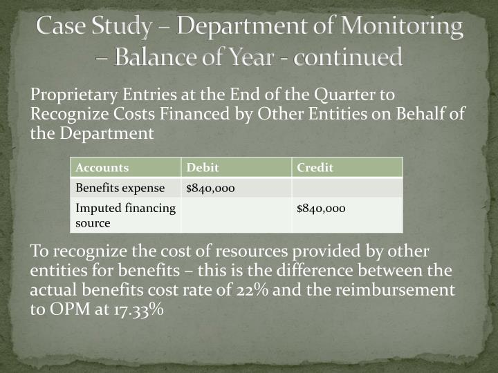 Case Study – Department of Monitoring – Balance of Year - continued