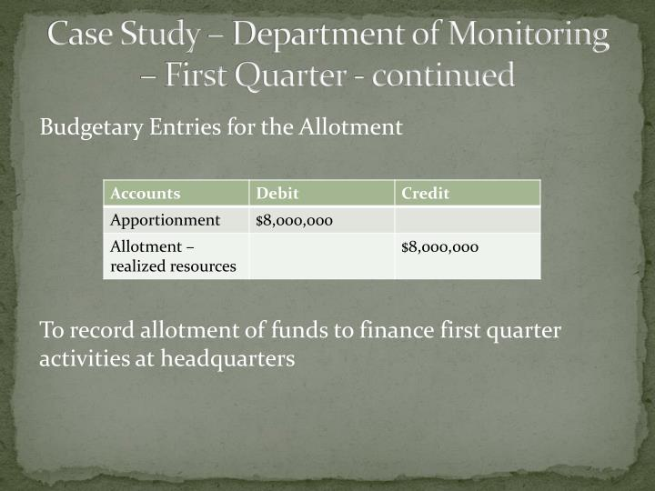 Case Study – Department of Monitoring – First