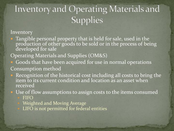 Inventory and Operating Materials and Supplies