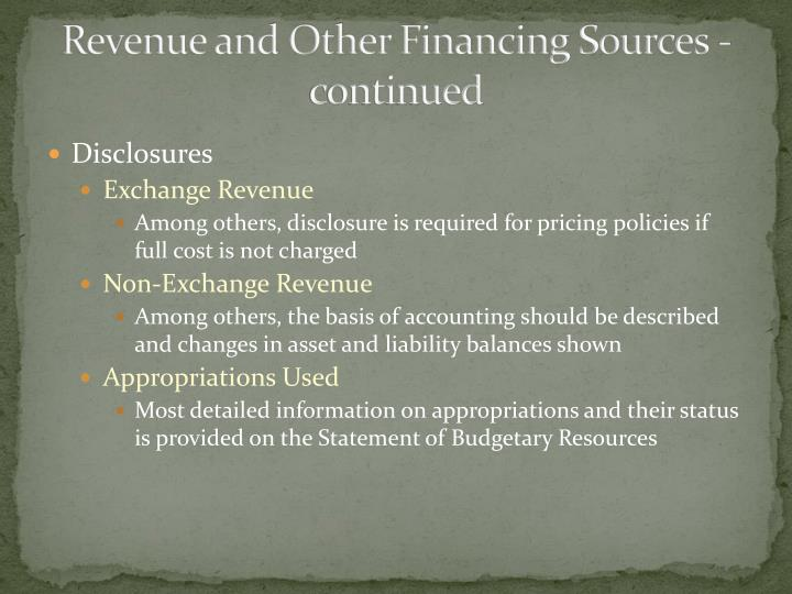 Revenue and Other Financing Sources - continued