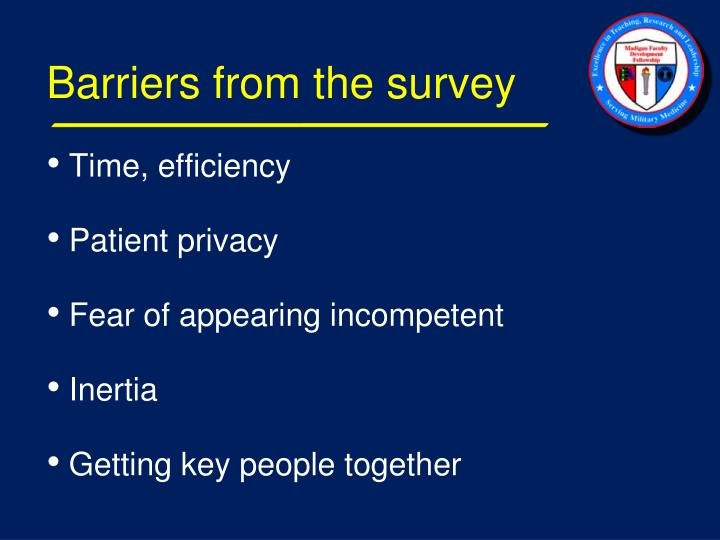 Barriers from the survey