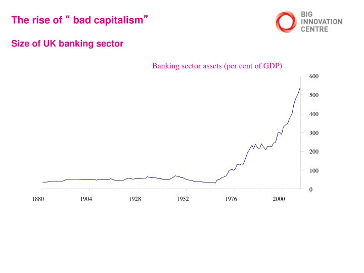 The rise of bad capitalism size of uk banking sector