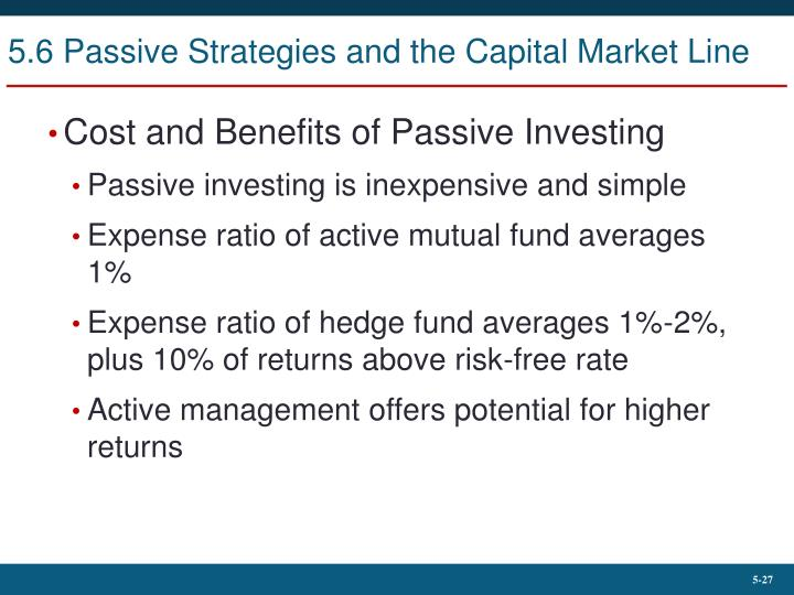 5.6 Passive Strategies and the Capital Market Line