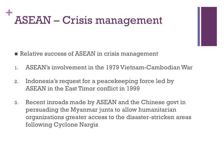 ASEAN – Crisis management