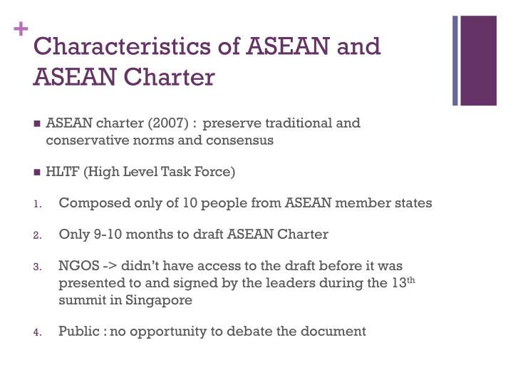 Characteristics of ASEAN and ASEAN Charter
