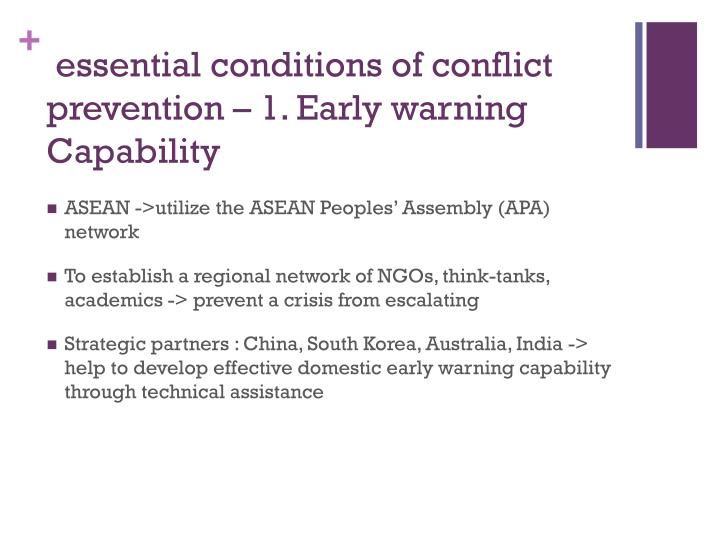 essential conditions of conflict prevention – 1. Early warning Capability