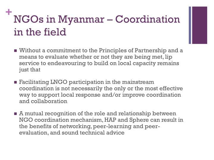 NGOs in Myanmar – Coordination in the field