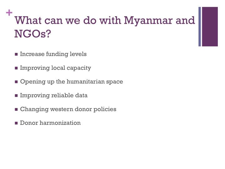 What can we do with Myanmar and NGOs?