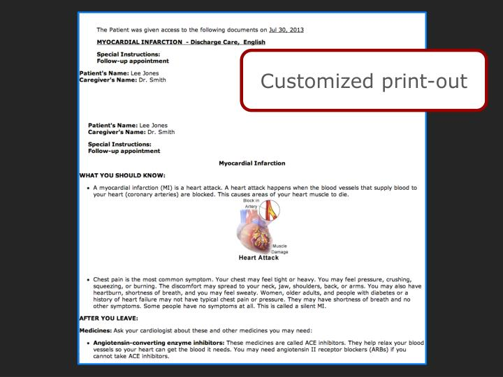 Customized print-out