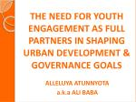the need for youth engagement as full partners in shaping urban development governance goals