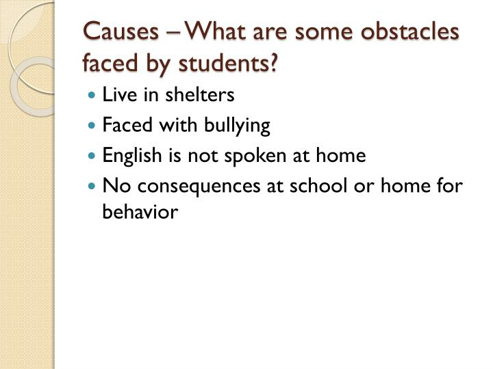 Causes – What are some obstacles faced by students?