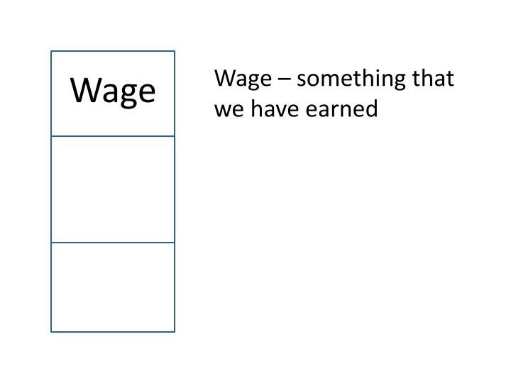 Wage – something that