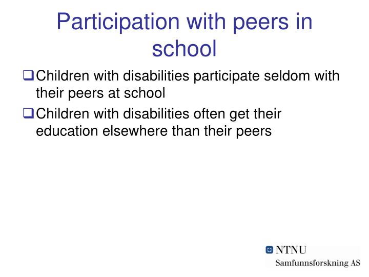 Participation with peers in school