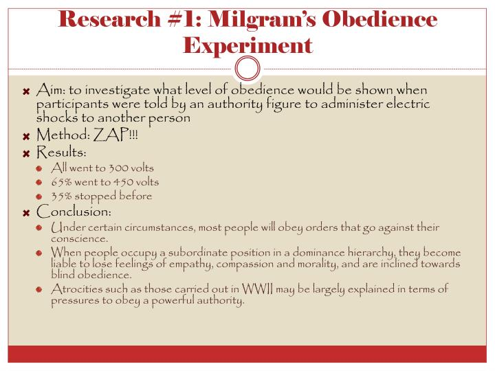 Research #1: Milgram's Obedience Experiment