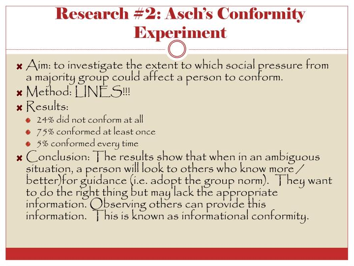 Research #2: Asch's Conformity Experiment