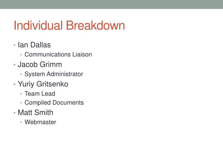 Individual Breakdown