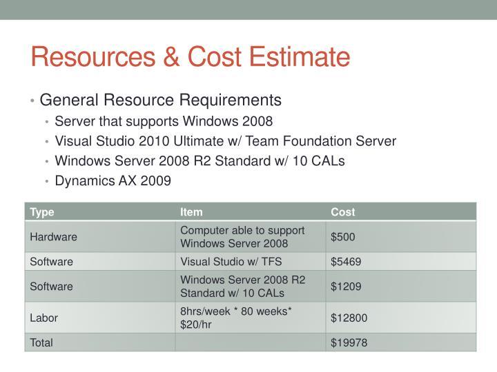 Resources & Cost Estimate
