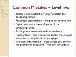 common mistakes level two