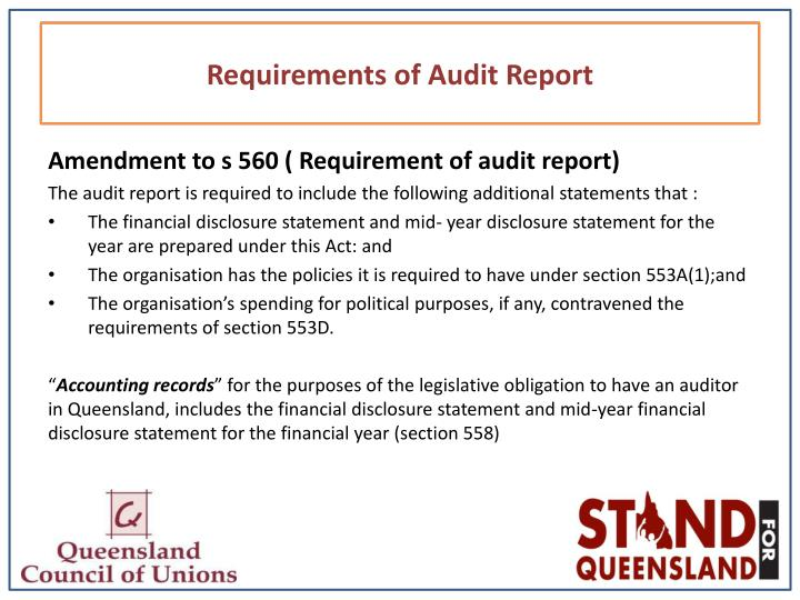 Requirements of Audit Report