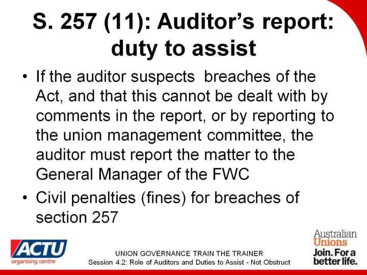 S. 257 (11): Auditor's report: duty to assist