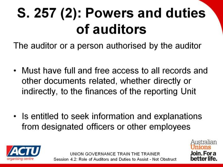 S. 257 (2): Powers and duties of auditors