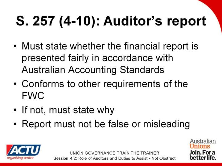 S. 257 (4-10): Auditor's report