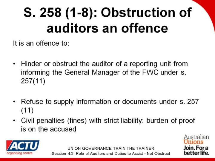 S. 258 (1-8): Obstruction of auditors an offence