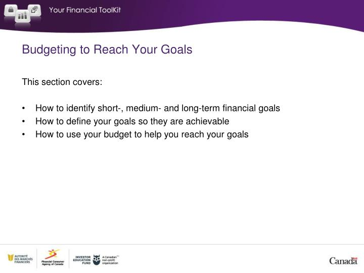 Budgeting to Reach Your Goals