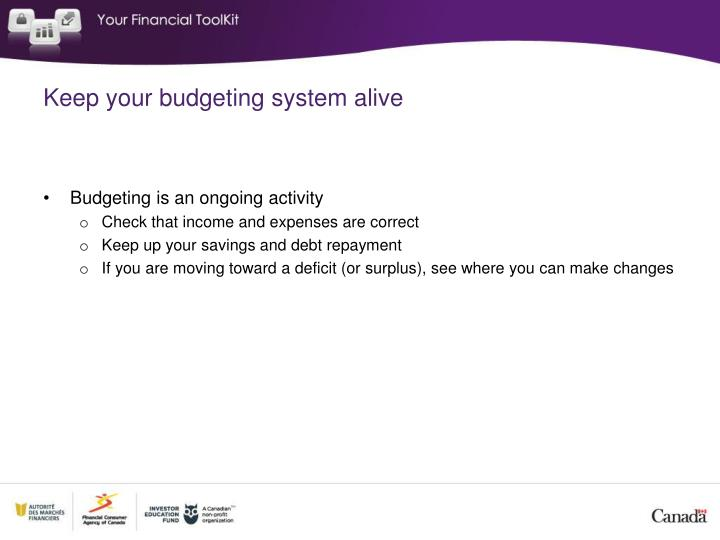 Keep your budgeting system alive