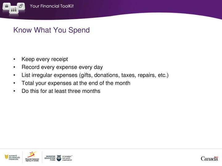 Know What You Spend