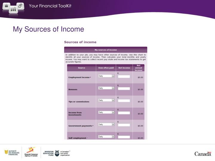 My Sources of Income