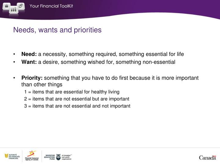 Needs, wants and priorities