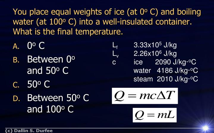 You place equal weights of ice (at 0