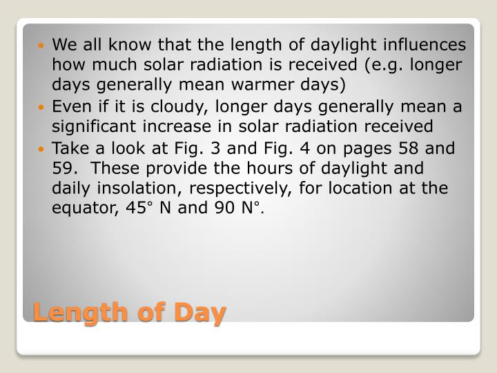 We all know that the length of daylight influences how much solar radiation is received (e.g. longer days generally mean warmer days)