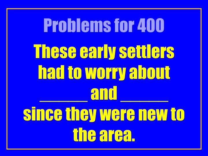 Problems for 400