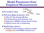 model parameters from empirical measurements
